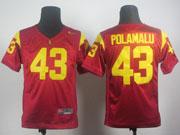 Youth Ncaa Nfl Usc Trojans #43 Polamalu Red Elite Jersey Gz