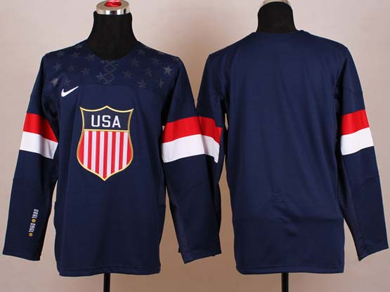 Mens nhl team usa (blank) blue (2014 olympics) Jersey