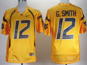 Mens Ncaa Nfl Virginia Mountaineers #12 G.smith Yellow Jersey Gz