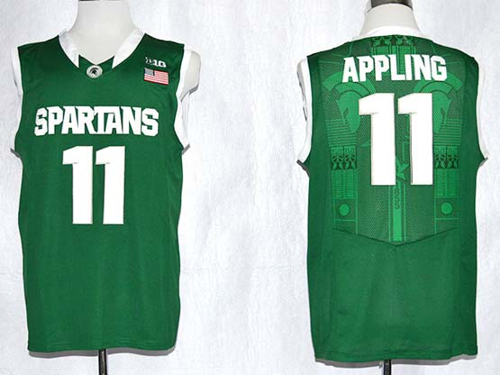 Mens Ncaa Nba Michigan State #11 Appling Green Jersey Gz