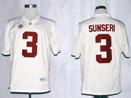 Mens Ncaa Nfl Alabama Crimson #3 Sunseri White Sec Limited Jersey Gz