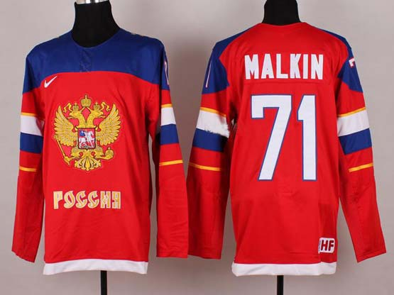 Mens nhl team russia #71 malkin red (2014 olympics) Jersey
