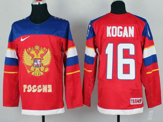 Mens nhl team russia #16 kogan red (2014 olympics) Jersey