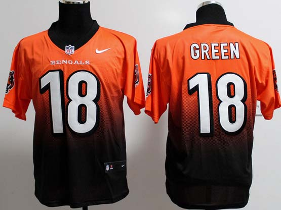mens nfl Cincinnati Bengals #18 AJ Green orange&black drift fashion ii elite jersey