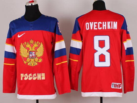 Mens nhl team russia #8 ovechkin red (2014 olympics) Jersey