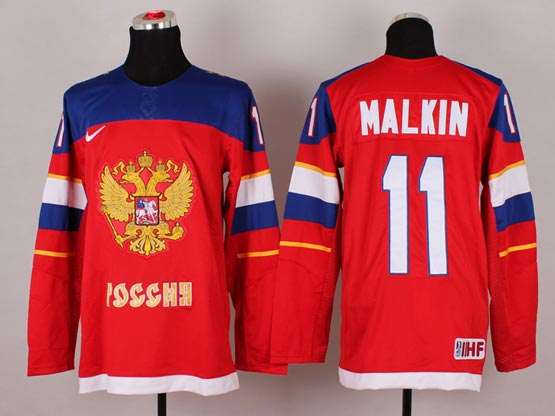 Mens nhl team russia #11 malkin red (2014 olympics) Jersey