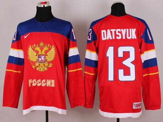 Mens nhl team russia #13 datsyuk red (2014 olympics) Jersey