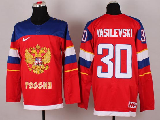 Mens nhl team russia #30 vasilevski red (2014 olympics) Jersey