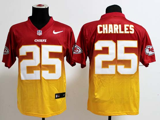 Mens Nfl Kansas City Chiefs #25 Charles Red&yellow Drift Fashion Ii Elite Jersey