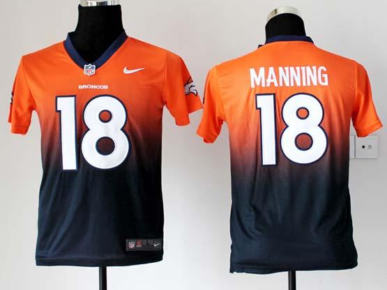 Youth Nfl Denver Broncos #18 Manning Orange&black Drift Fashion Ii Elite Jersey