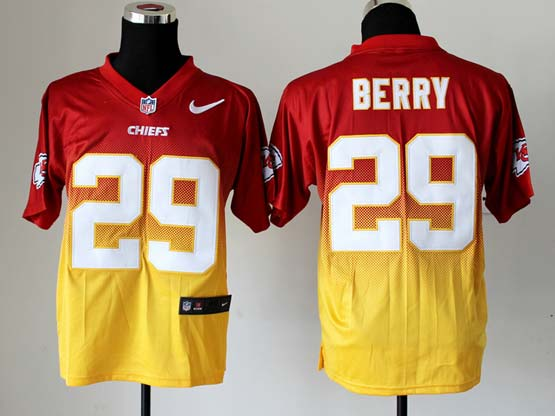 Mens Nfl Kansas City Chiefs #29 Berry Red&yellow Drift Fashion Ii Elite Jersey