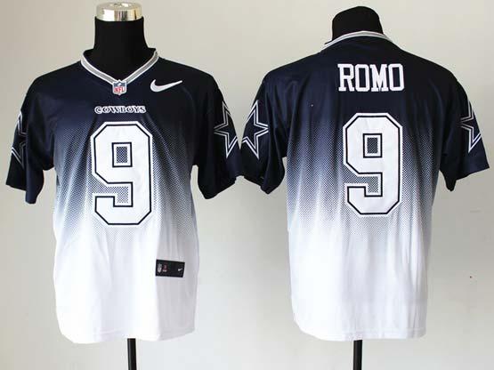 Mens Nfl Dallas Cowboys #9 Romo Blue&white Drift Fashion Ii Elite Jersey