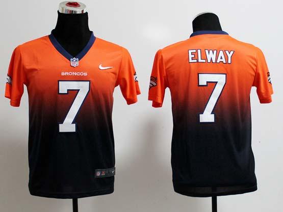 Youth Nfl Denver Broncos #7 Elway Orange&black Drift Fashion Ii Elite Jersey