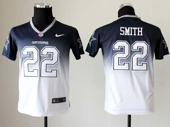 Youth Nfl Dallas Cowboys #22 Smith Blue&white Drift Fashion Ii Elite Jersey