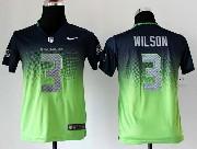 Youth Nfl Seattle Seahawks #3 Wilson Blue&green Drift Fashion Ii Elite Jersey