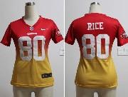 Women  Nfl San Francisco 49ers #80 Rice Red&yellow Drift Fashion Ii Elite Jersey