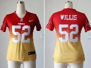 Women  Nfl San Francisco 49ers #52 Willis Red&yellow Drift Fashion Ii Elite Jersey