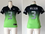 Women  Nfl Seattle Seahawks #3 Wilson Blue&green Drift Fashion Ii Elite Jersey