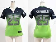 Women  Nfl Seattle Seahawks #25 Sherman Blue&green Drift Fashion Ii Elite Jersey