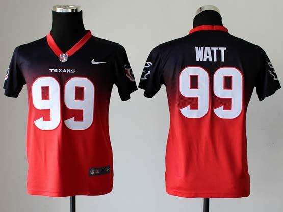 youth nfl Houston Texans #99 JJ Watt blue&red reddrift fashion ii elite jersey