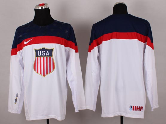 Mens nhl team usa (blank) white (2014 olympics) Jersey