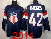 Mens nhl team usa #42 backes blue (2014 olympics) Jersey