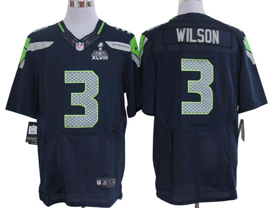 Mens   Seattle Seahawks #3 Russell Wilson Navy Blue Elite Jersey
