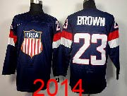 Mens nhl team usa #23 brown blue (2014 olympics) Jersey