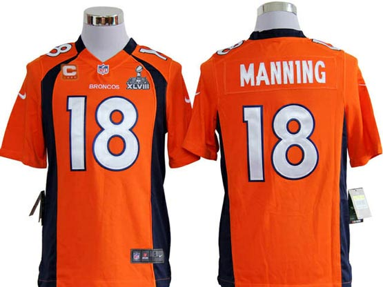 Mens Nfl Denver Broncos #18 Manning Orange Game (2014 Super Bowl) Jersey