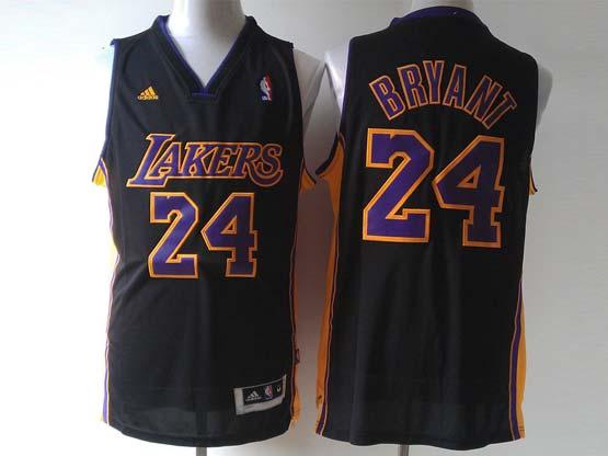 Mens Nba Los Angeles Lakers #24 Bryant Black (purple Number) Revolution 30 Jersey (p)
