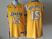 Mens Nba Los Angeles Lakers #15 World Peace Gold Revolution 30 Jersey (p)