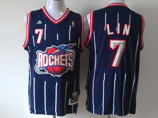 Mens Nba Houston Rockets #7 Lin Blue Stripe Revolution 30 Jersey (p)