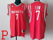 Mens Nba Houston Rockets #7 Lin Red (white Number) Revolution 30 Jersey (p)