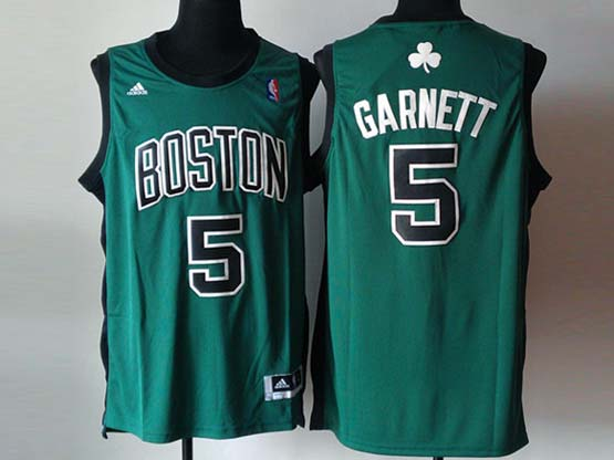 Mens Nba Boston Celtics #5 Garnett Green (black Number) Revolution 30 Jersey (p)