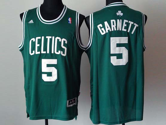 Mens Nba Boston Celtics #5 Garnett Green (white Number) Revolution 30 Jersey (p)