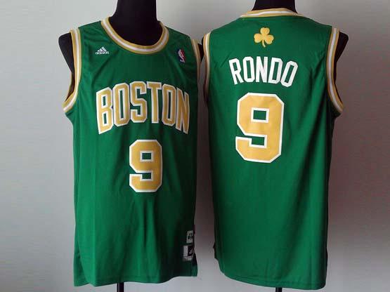 Mens Nba Boston Celtics #9 Rondo Green (gold Number) Revolution 30 Jersey (p)