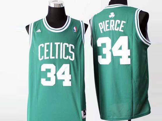 Mens Nba Boston Celtics #34 Pierce Green (white Number) Revolution 30 Jersey (p)