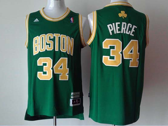Mens Nba Boston Celtics #34 Pierce Green (gold Number) Revolution 30 Jersey (p)