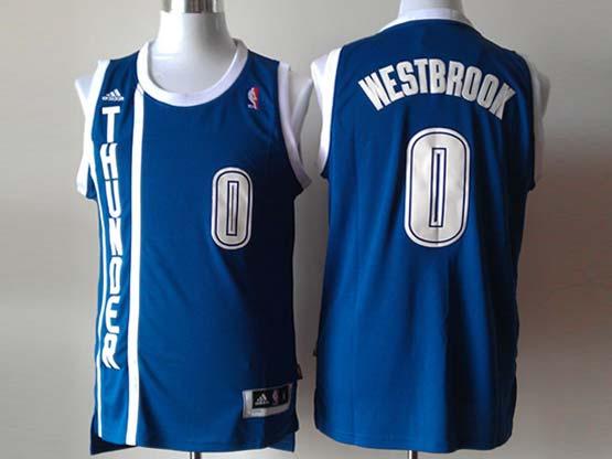 mens nba Oklahoma City Thunder #0 Russell Westbrook dark blue revolution 30 jersey (p)