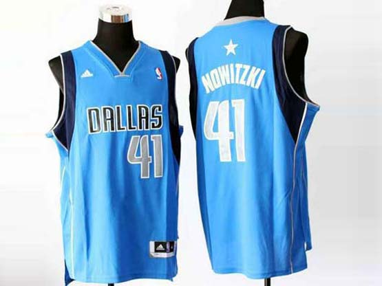 Mens Nba Dallas Mavericks #41 Nowitzki Light Blue Revolution 30 Jersey (p)