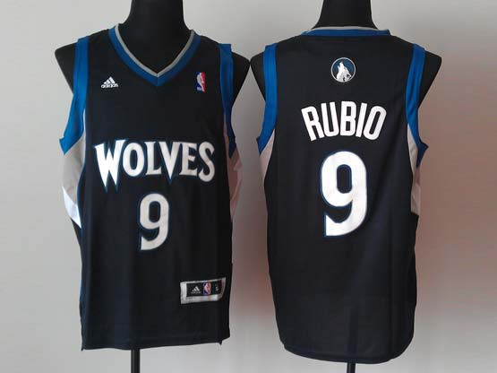 Mens Nba Minnesota Timberwolves #9 Rubio Black Revolution 30 Jersey (p)