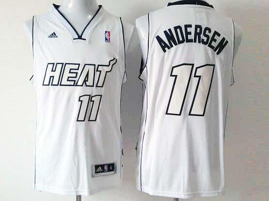 Mens Nba Miami Heat #11 Andersen White (white Number) Revolution 30 Fashion Jersey (p)