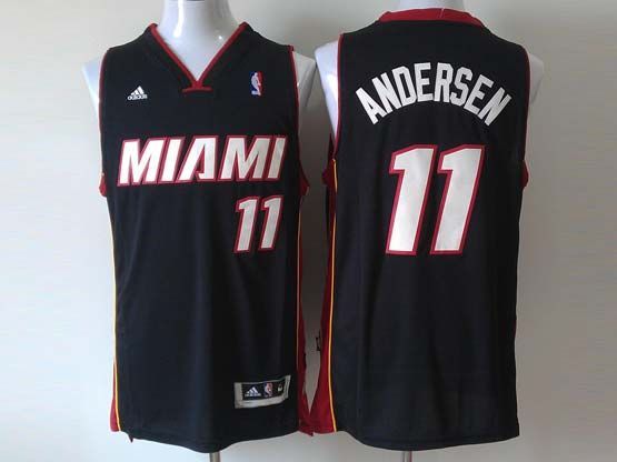 Mens Nba Miami Heat #11 Andersen Black (miami White Number) Revolution 30 Jersey (p)