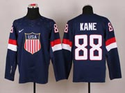 Mens nhl team usa #88 kane blue (2014 olympics) Jersey
