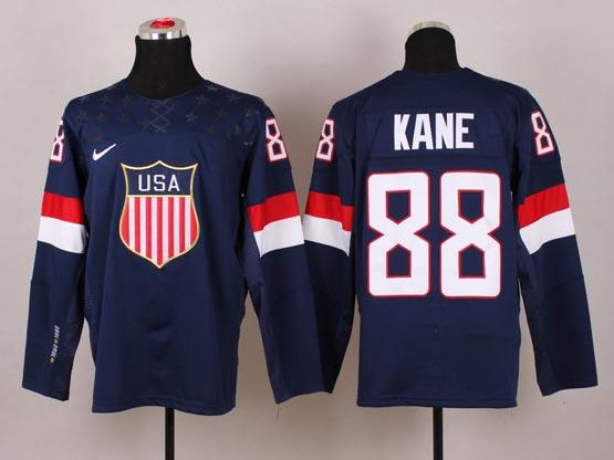 Mens nhl team usa #88 kane blue (2014 olympics) Jersey