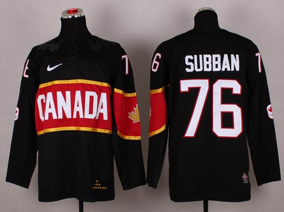 Mens nhl team canada #76 subban black (2014 olympics) Jersey