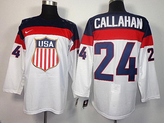 Mens nhl team usa #24 callahan white (2014 olympics) Jersey
