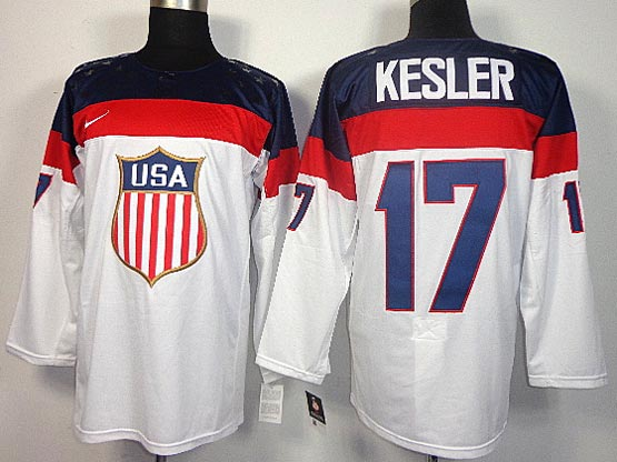 Mens nhl team usa #17 kesler white (2014 olympics) Jersey