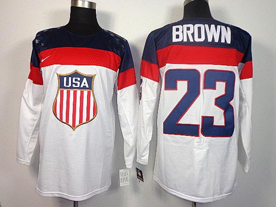 Mens nhl team usa #23 brown white (2014 olympics) Jersey
