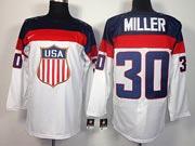 Mens nhl team usa #30 miller white (2014 olympics) Jersey